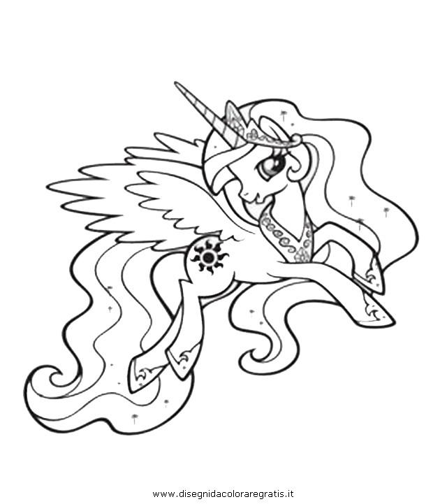 Disegno piccolopony celestia 2 personaggio cartone - Unicorno alato pagine da colorare ...