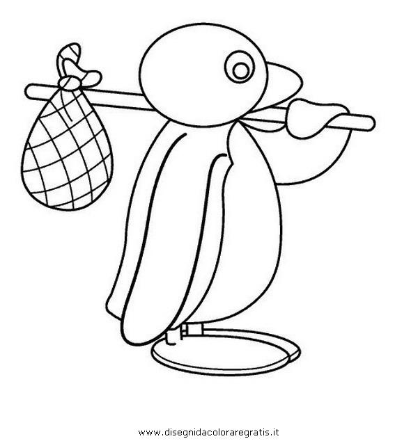 Disegno pingu personaggio cartone animato da colorare