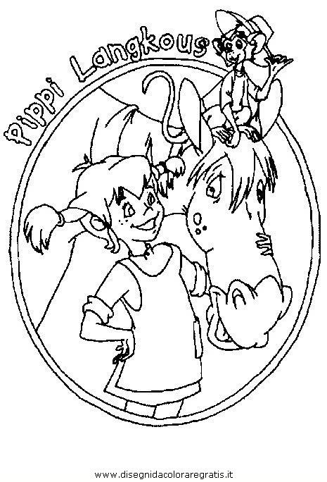 Disegno pippi calzelunghe personaggio cartone animato