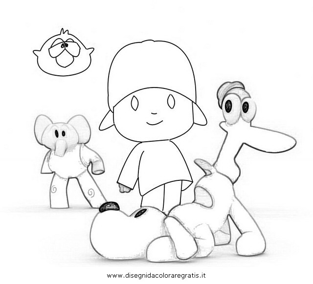Disegno pocoyo personaggio cartone animato da colorare