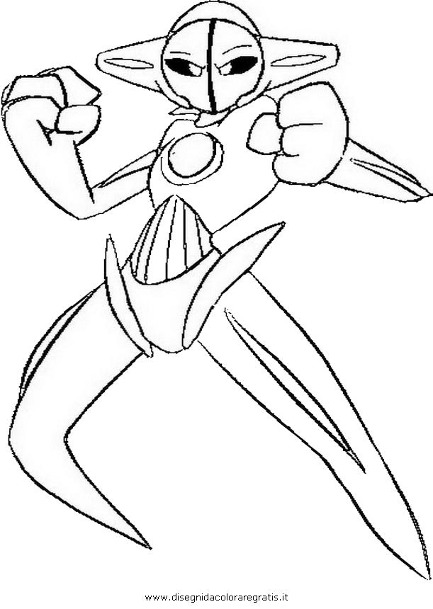 Disegno deoxys personaggio cartone animato da colorare