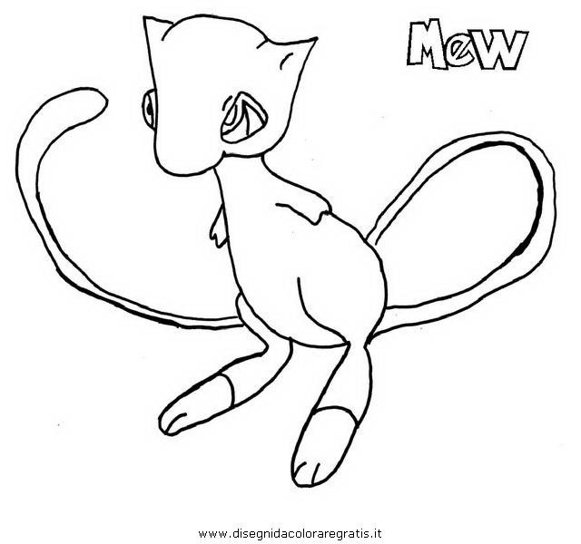 pokemon mew coloring pages - disegno pokemon mew 4 personaggio cartone animato da colorare