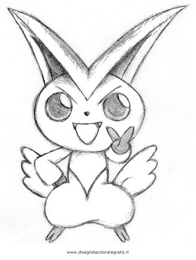 Disegno pokemon victini personaggio cartone animato da
