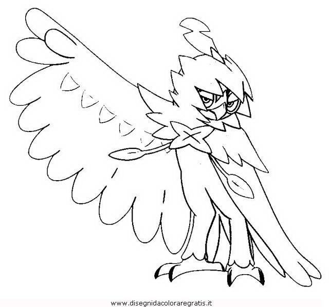 Disegno pokemon decidueye personaggio cartone animato da for Pokemon da stampare e colorare