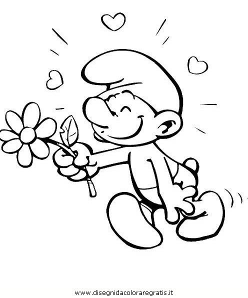 Disegno puffi personaggio cartone animato da colorare