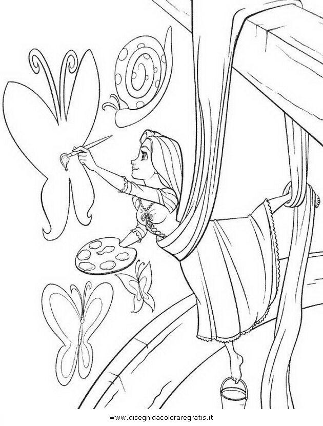 Disegno rapunzel intreccio torre personaggio cartone