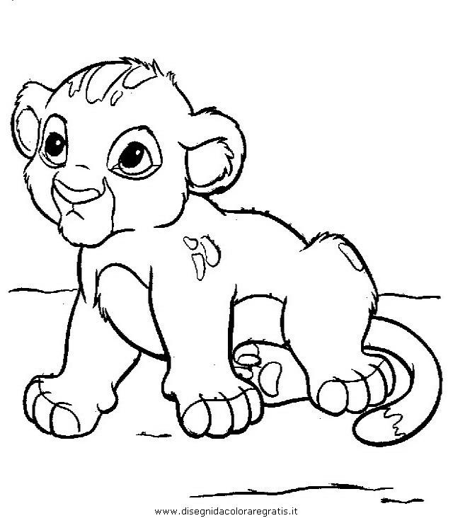 Disegno re leone personaggio cartone animato da colorare