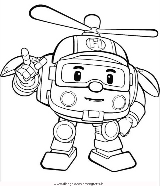 Disegno robocar poli 17 personaggio cartone animato da - Cartone animato animali da colorare pagine ...