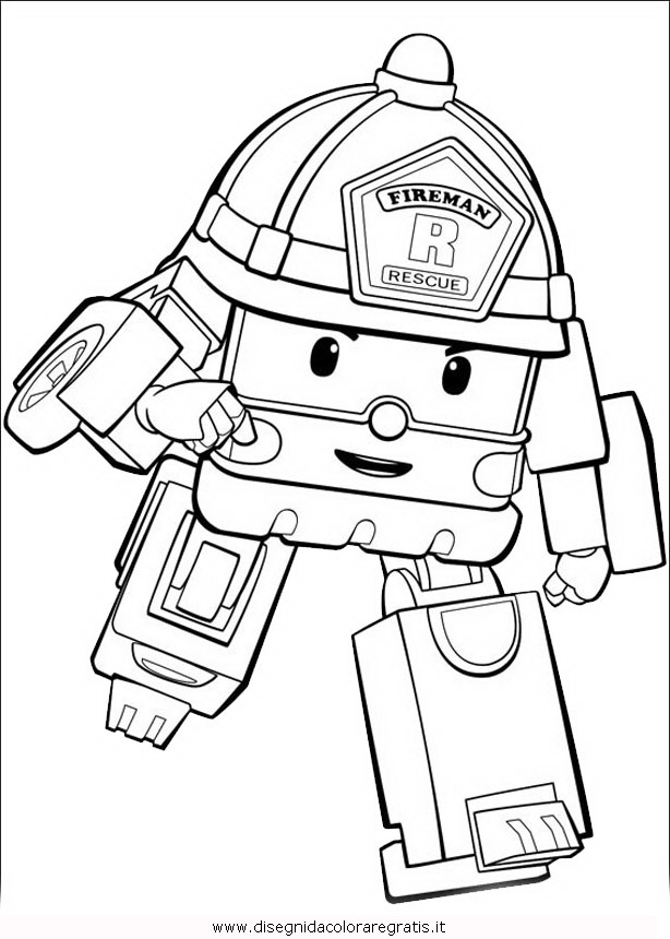 Disegno robocar poli 22 personaggio cartone animato da for Robocar poli da colorare
