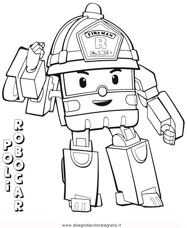 Disegno robocar poli 32 personaggio cartone animato da for Robocar poli da colorare