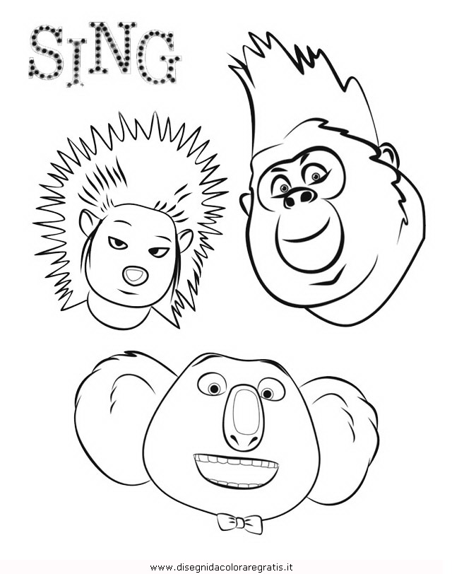 Disegno sing personaggio cartone animato da colorare