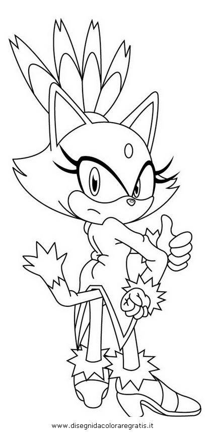 Disegno sonic blaze personaggio cartone animato da colorare for Cartoni blaze