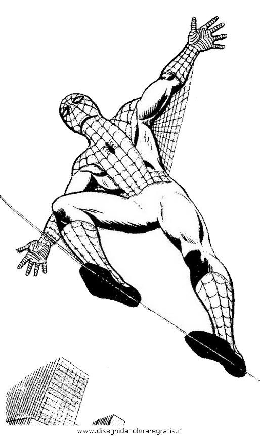 Disegno spiderman personaggio cartone animato da colorare