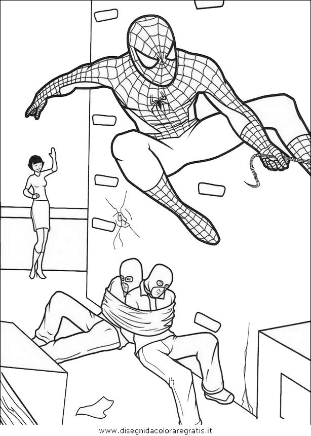 Disegno uomo ragno personaggio cartone animato da colorare