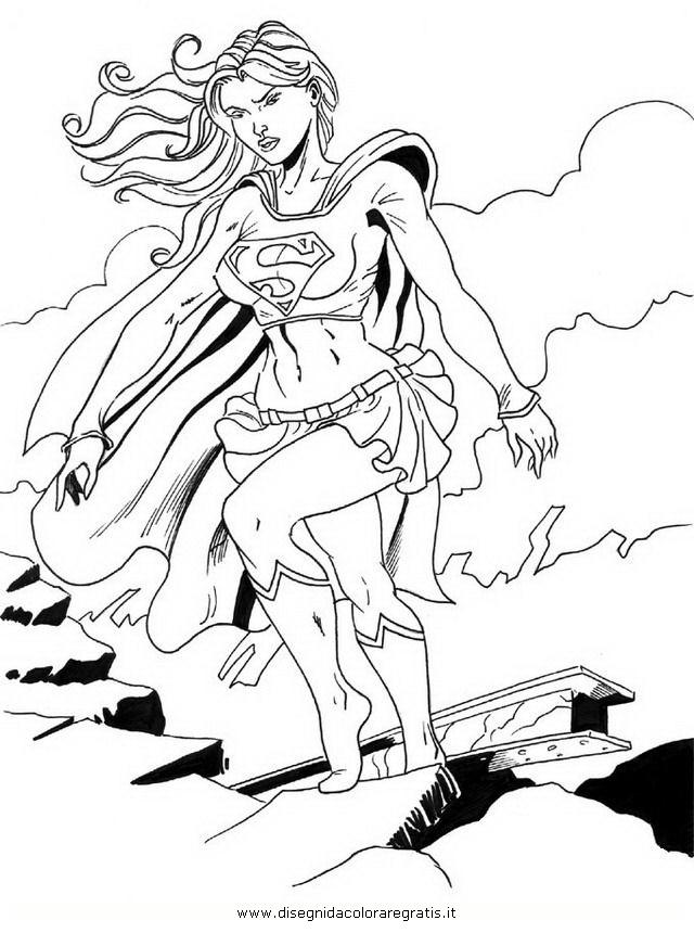 Disegno supergirl personaggio cartone animato da colorare