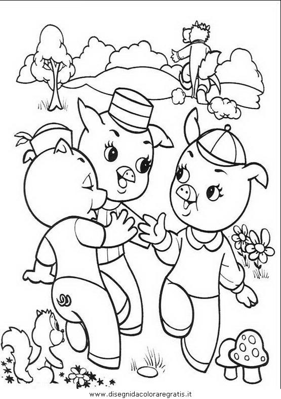 Disegno tre porcellini personaggio cartone animato da