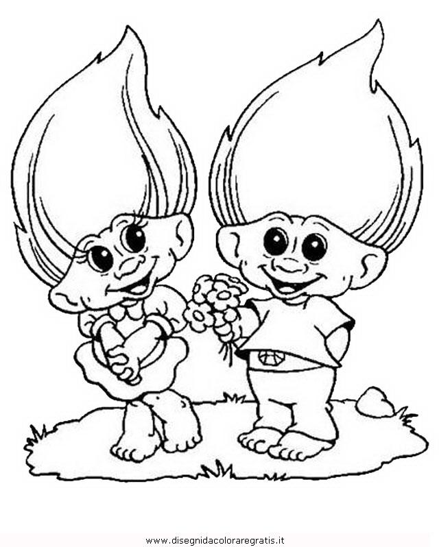 Disegno trolls personaggio cartone animato da colorare