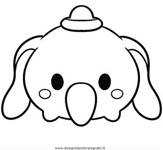 Disegno Tsum Tsum Dumbo Personaggio Cartone Animato Da Colorare