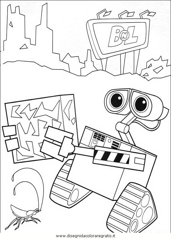Disegno wall e personaggio cartone animato da colorare