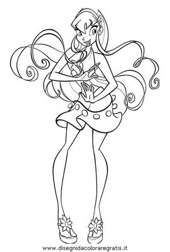 Disegno winx flora personaggio cartone animato da colorare