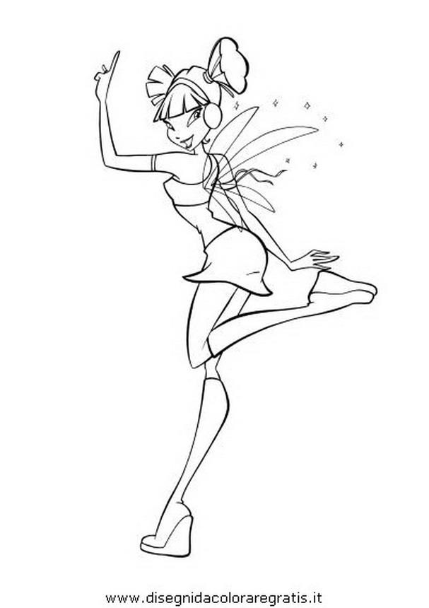 Disegno winx musa personaggio cartone animato da colorare