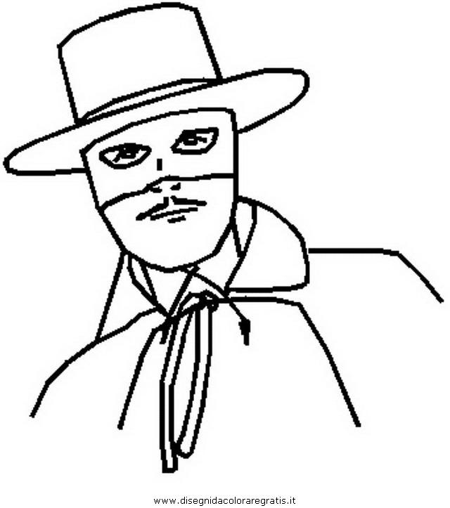 Disegno zorro personaggio cartone animato da colorare