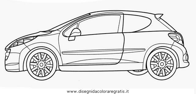 disegno peugeot 207 categoria mezzi trasporto da colorare