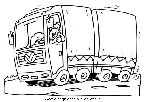 Disegno camion categoria mezzi trasporto da colorare