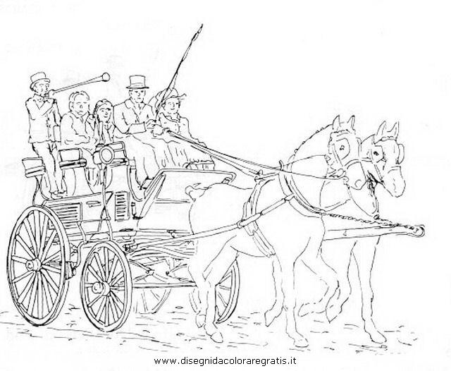 Disegni Da Colorare Cavalli Con Carrozza.Disegno Carrozza 12 Categoria Mezzi Trasporto Da Colorare