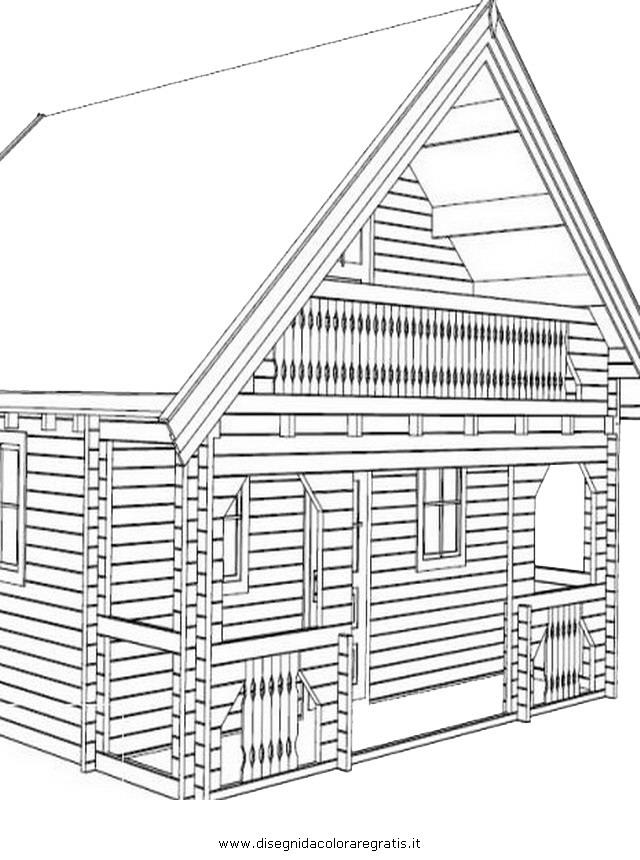 Disegno casa legno misti da colorare for Disegni di casa da stampare