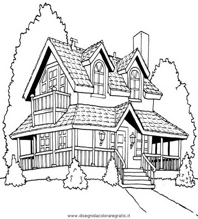 Disegno villa 2 misti da colorare for Disegni di case di tronchi