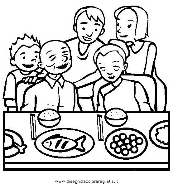 Disegno pranzo_02 misti da colorare