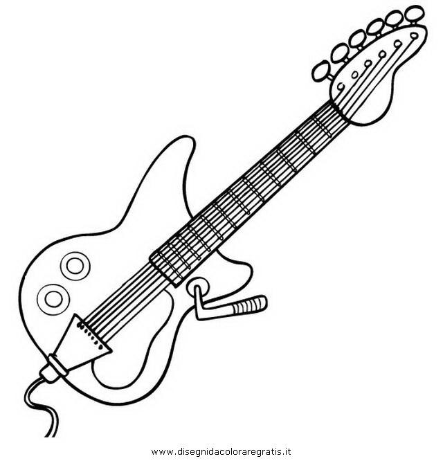 Disegno Chitarra Elettrica 3 Misti Da Colorare
