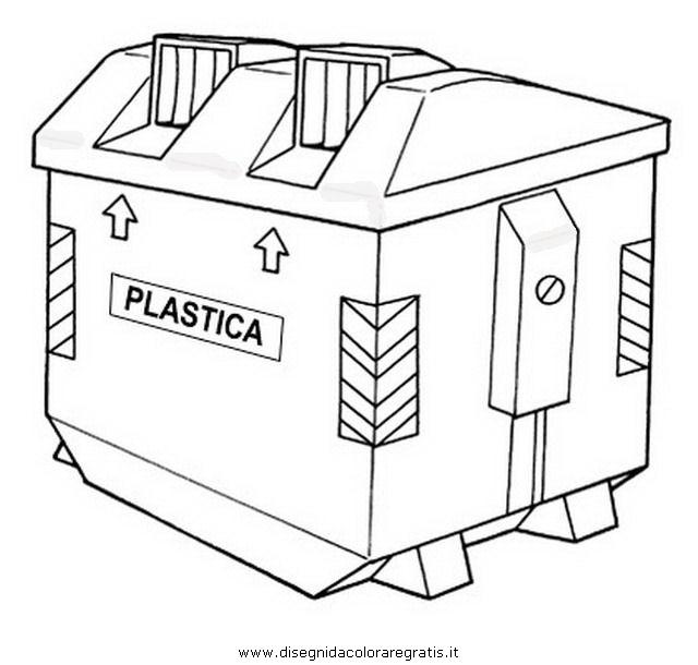Estremamente Disegno bidone_plastica misti da colorare RD49