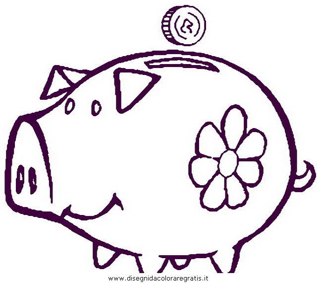 Disegno maialino misti da colorare for Maialino disegno per bambini