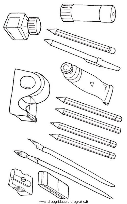disegno matite colla scuola misti da colorare. Black Bedroom Furniture Sets. Home Design Ideas