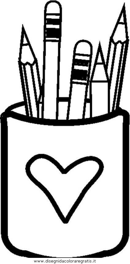 Disegno portapenne misti da colorare for Disegno vaso da colorare