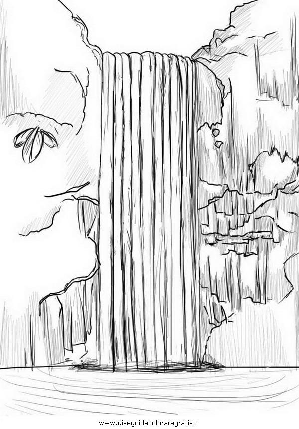 Disegno cascata cascate 03 misti da colorare for Disegni paesaggi da colorare