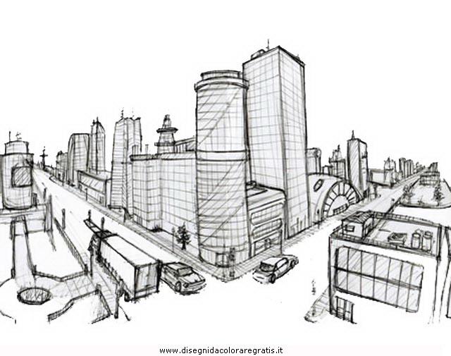 Disegno citta city 03 misti da colorare for Disegni di paesaggi da colorare