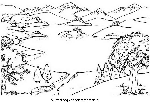Disegno lago misti da colorare for Paesaggi facili da disegnare