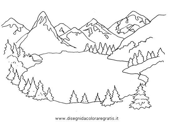 Disegno lago alpino misti da colorare for Paesaggi semplici da disegnare