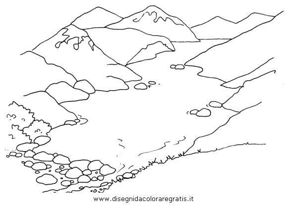 Disegno lago glaciale misti da colorare - Immagini da colorare delle montagne ...