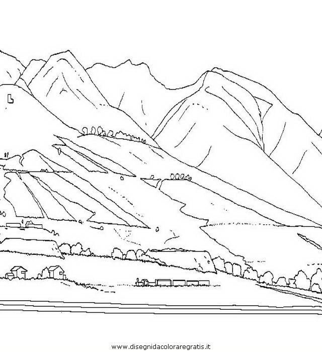 Disegno montagna 14 misti da colorare for Paesaggi facili da disegnare