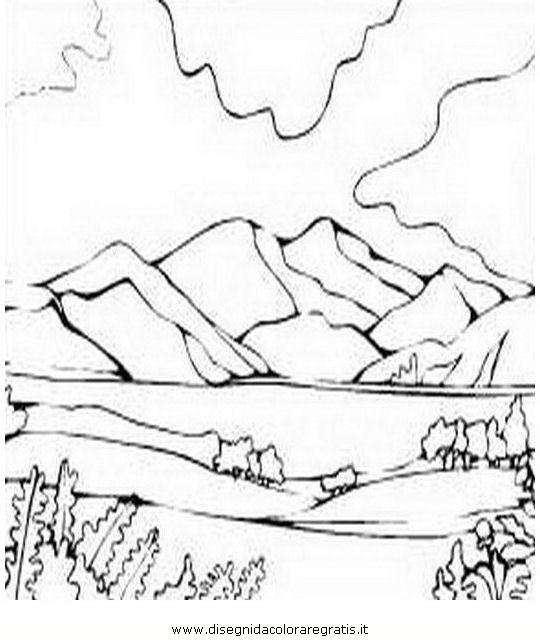 Disegno montagna 19 misti da colorare - Immagini da colorare delle montagne ...