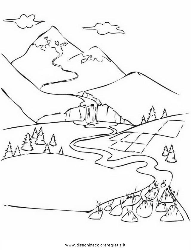 Disegno paesaggio fiume delta misti da colorare for Paesaggi facili da disegnare