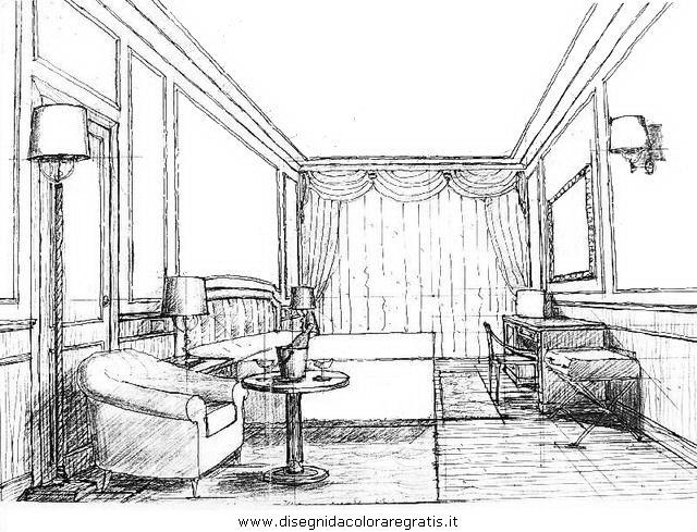 Disegno camera prospettiva misti da colorare for Disegni di interni