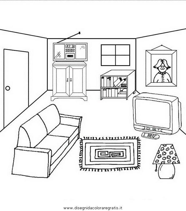 Disegno camera cameretta 03 misti da colorare for Disegni mobili casa
