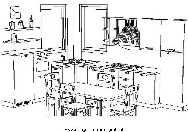disegno camera cucina prospettiva misti da colorare