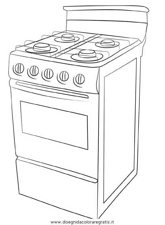 Disegno cucina_stufa_fornello misti da colorare