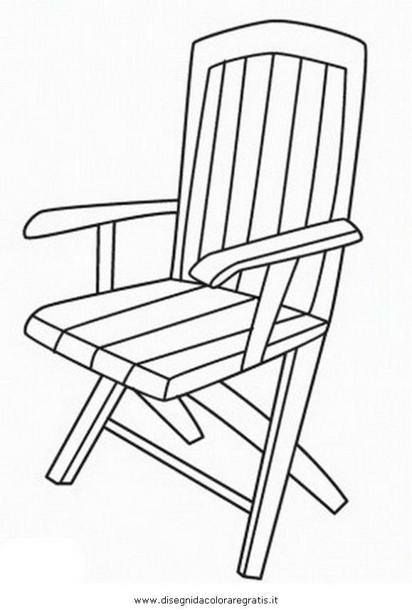 Disegno sedia braccioli misti da colorare - Sedia a dondolo disegno ...